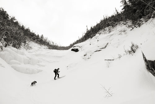Ryman McLane and his dog Shasta skinning up and skiing down a slide on the East Peak of Mount Osceola. This is off the Kancamagus Highway ( Rt. 112 ) in LIncoln, New Hampshire.