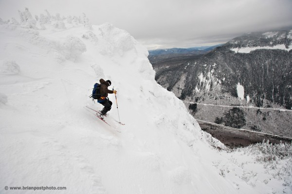 Jim Surette skiing the Mountaineer's Route on Mount Webster in Crawford Notch. Mount Willey in the background.