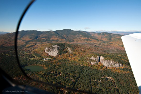 Aerial view of Cathedral Ledge and Whitehorse Ledge.