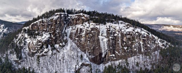 Cathedral Ledge Winter Aerial Panorama