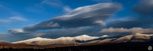 View of the west side of Mount Washington and the Presidential Range with lenticular clouds.